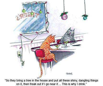 """""""So they bring a tree in the house and put all these shiny, dangling things on it, then freak out if I go near it....  This is why I drink."""""""