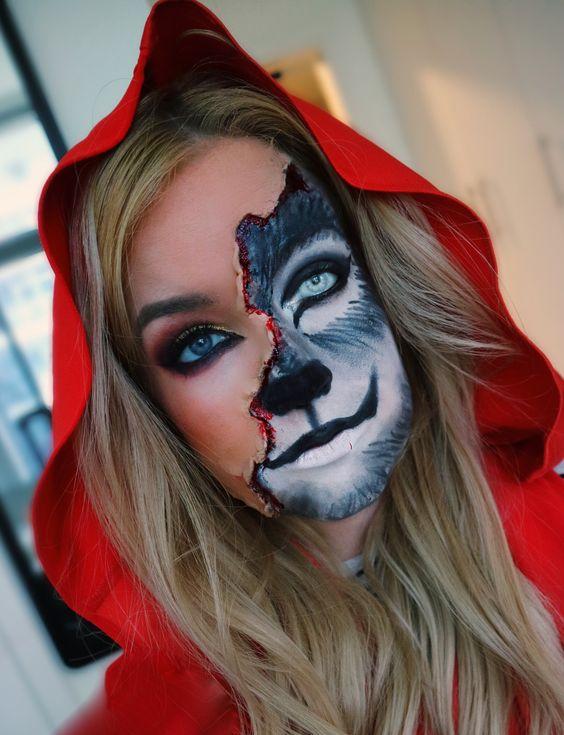 Maquiagem de Halloween, traje de Halloween, chapeuzinho vermelho maquiagem, traje grande lobo mau, pouco vermelho, maquiagem lobo, maquiagem metade do rosto
