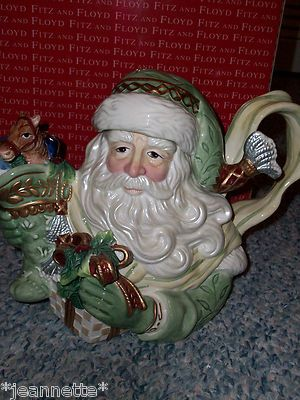 Fitz Floyd Gregorian Green Old World Santa Claus Christmas Teapot Tea Pot | eBay