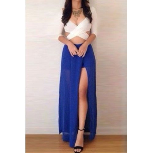 Sexy Plunging Neck 3/4 Sleeve Crossed Backless Crop Top + Split Skirt Twinset For Women white blue (Sexy Plunging Neck 3/4 Sleeve Crossed Backless Crop) by http://www.irockbags.com/sexy-plunging-neck-34-sleeve-crossed-backless-crop-top-split-skirt-twinset-for-women-white-blue