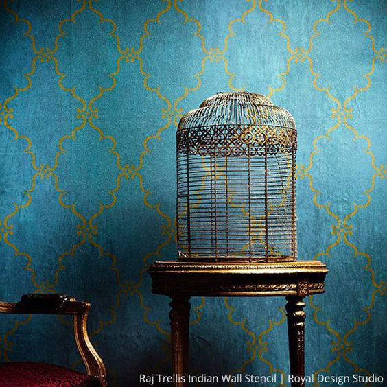 Wall Stencils Royal Design : Raj trellis indian wall stencil royal design studio