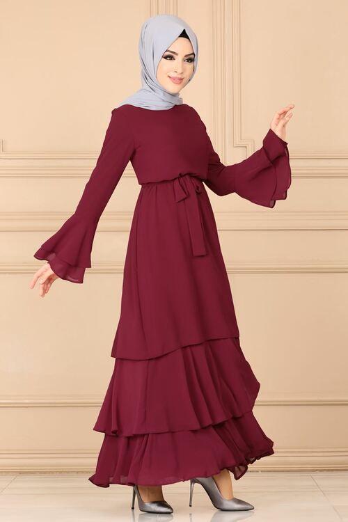 Modaselvim 89 Tl Volan Kol Kemerli Elbise 142afl378 Bordo Elbise Kiyafet Elbiseler