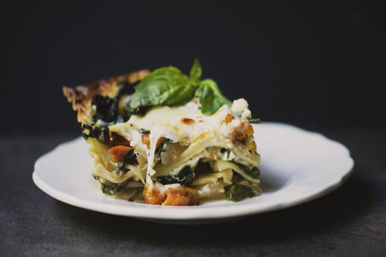Roasted butternut squash, sauteed spinach, and caramelize onion lasagna