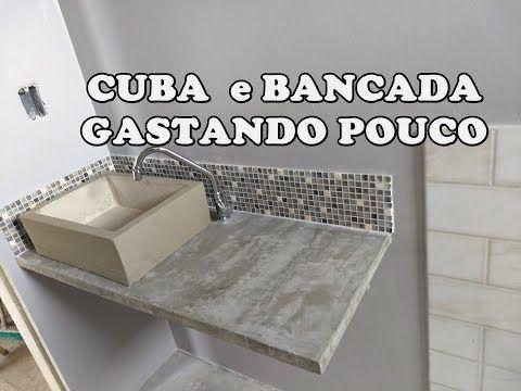 Como Fazer Bancada E Cuba De Cimento Youtube Banheiro De