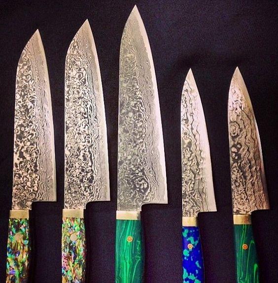 Good Japanese Folded Steel Kitchen Knives #10: Kitchen Knives!! Japanese Kin Knives. Damascus Folded Steel With Malachite, Azurite U0026amp;