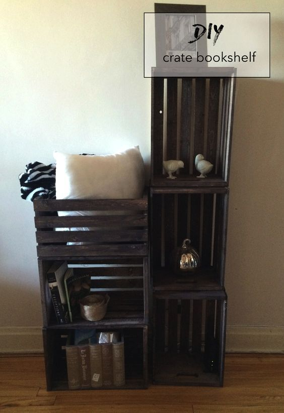 12 Ideas How To Make Diy Crate Bookshelf In 2020 Bookshelves Diy Crate Bookshelf Bookcase Diy