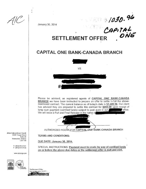 Another Debt Settled With WwwCcdrCa  Capital One Settlements