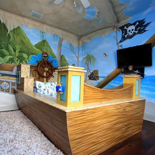 Treasure Cove Pirate Bed And Mural From PoshTots, What Kid Wouldn't Love This!!!!