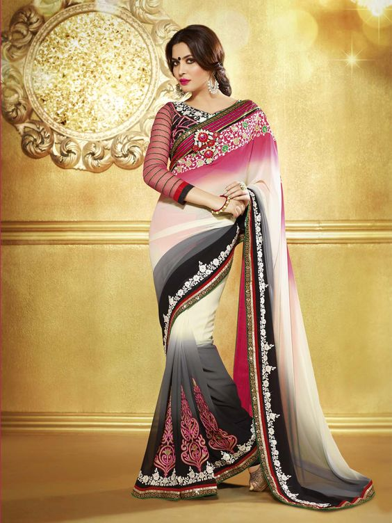 G3 Fashion Grey shaded georgette saree Price: ₹ 3,215.00 To view more details http://goo.gl/XVgVst