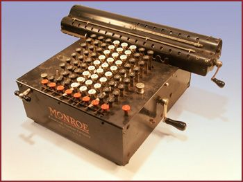 One of the first commercial models manufactured by the Monroe Calculating Machine Co., Orange N.J., the actual rotary cylinder mechanism has its origins in the 1870's with American inventor Frank Stephen Baldwin's patent. Monroe is still in business today as Monroe Systems for Business, Levittown, PA., and has left their hand crank far behind.