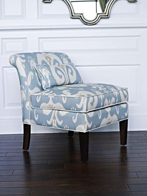 Chatfield Chair in Aqua Ikat Fabric, this chair is a fabulous shape for a small space, it's nice and open but super comfortable!!!