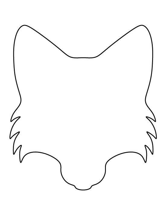 Fox face pattern use the printable outline for crafts for Template of a fox