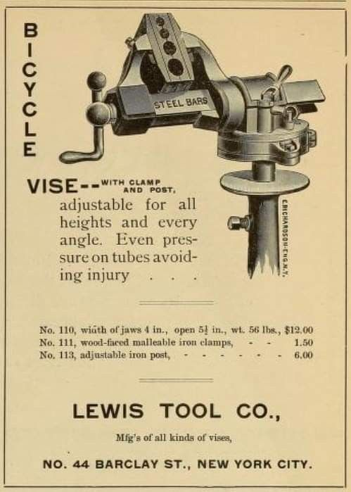 Lewis Tool Bicycle Vise Blacksmith Tools Vises Vintage Tools