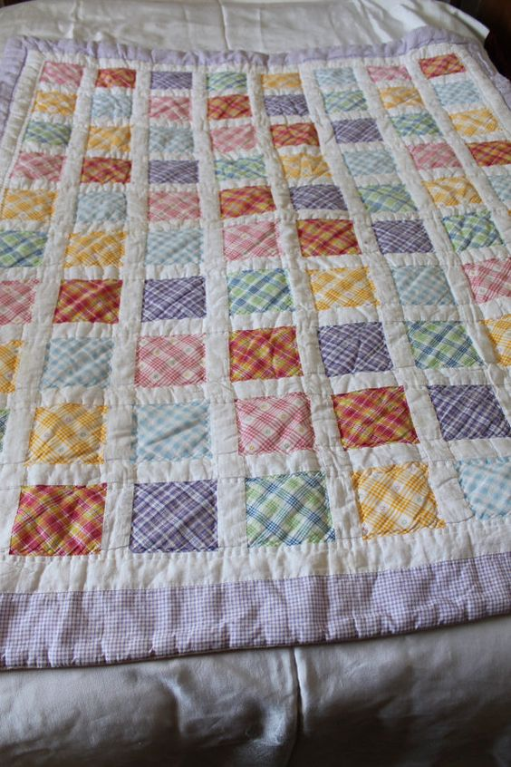 Plaid Baby Quilt: Vintage BABY Or LAP Finished Quilt