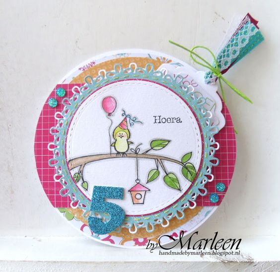 Handmade card by Marleen with clear stamp playset Piepkuikens (HT1601), Feestmuizen (HT1602) and Luchtpost (HT1603) and Collectables Party Numbers (COL1347), Craftables Circle & Flower Stitch (CR1248), Label XL & Labels XS (CR1353) and Passe Partout (CR1360) from Marianne Design