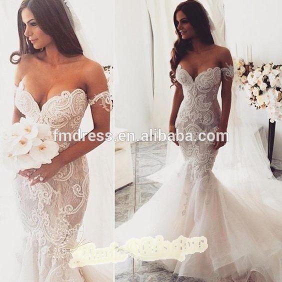 Vintage sereia vestidos de casamento Sexy Off ombro com manga curta Lace Sheer Emboridery com trem 2015 vestidos de casamento noiva-imagem-Vestidos & saias XL-ID do produto:60234769180-portuguese.alibaba.com: