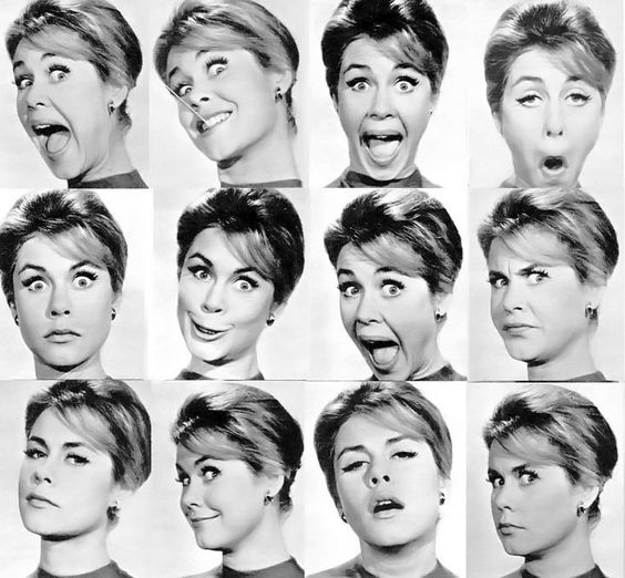 Woman face expressions sheet (Elizabeth Montgomery)
