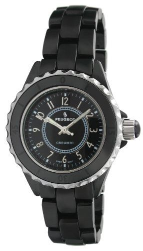 Peugeot Womens PS4895BK Swiss Ceramic Black Sport Bezel Watch >>> You can find out more details at the link of the image.