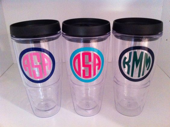 set of 3 Large Personalized Acrylic Double wall Tumblers-WITH LID.  via Etsy.