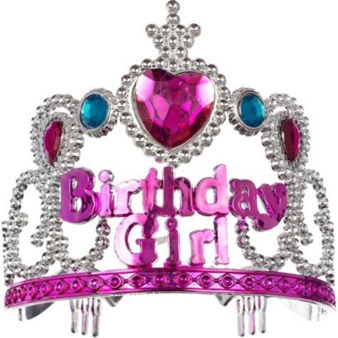 Child Pink Birthday Girl Tiara 3 1/2in - Party City
