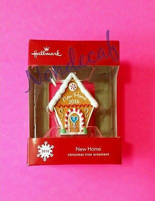 2016 HALLMARK CHRISTMAS TREE ORNAMENT NEW HOME Red Box Gingerbread House Realtor #nondecaf #myodbnb #thelagniappeemporium
