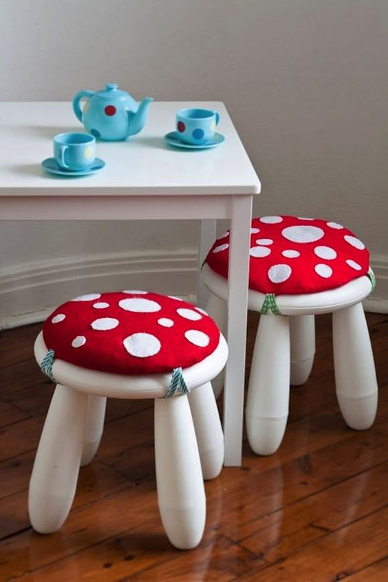 diy ikea hacks for kids rooms mammutt stool becomes a sweet mushroom - Suspension Ikea Lombards