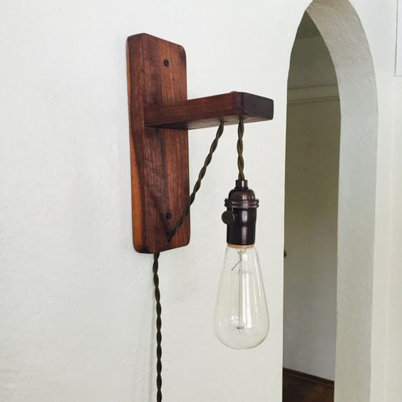 Wall Sconces With Cord And Plug : Walnut plug in wall sconce-Plug in pendant- edison bulb-Exposed braided olive green Cloth cord ...