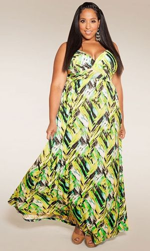 Lucy Maxi Dress in green abstract #SWAKDesigns