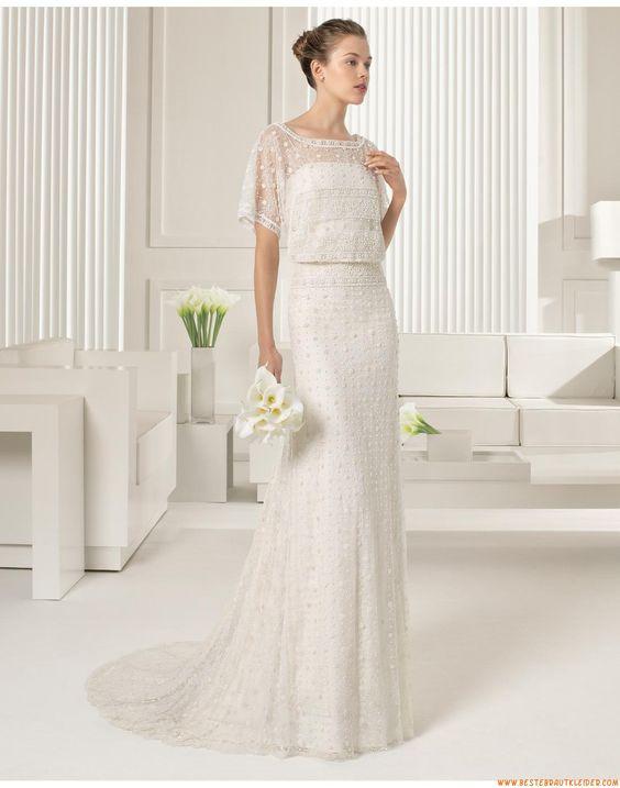 2015 Exklusive Schicke Aparte Brautkleider aus Softnetz mit Applikation