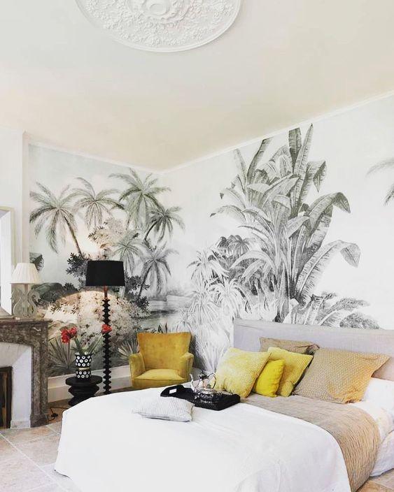 slaapkamer tropisch behang