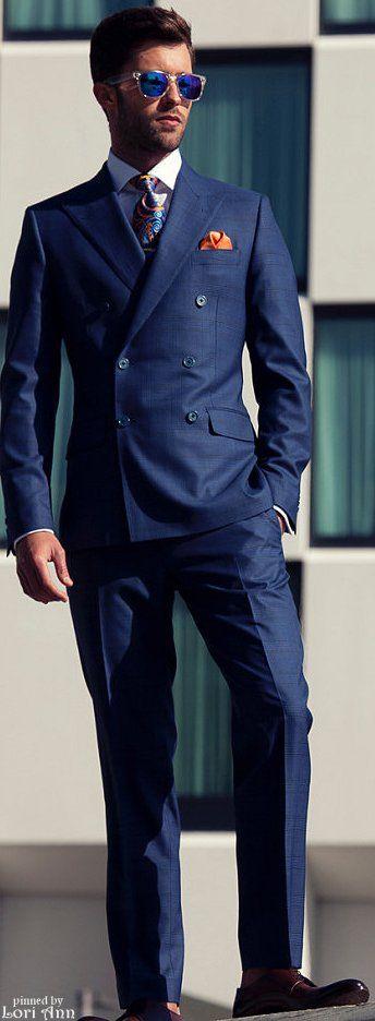 Men's Fashion | Menswear | Men's Outfit for Spring/Summer | Blue Double Breast Suit, Orange Pocket Square, Colorful Tie | Moda Masculina | Shop at designerclothingfans.com