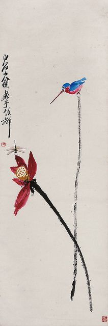 "Qi Baishi (齊白石, 1864-1957) was one of the most well-known contemporary Chinese painters. Some of Qi's major influences include the Ming Dynasty artist Xu Wei (徐渭) and the early Qing Dynasty painter Zhu Da (朱耷, 即""八大山人""). 齐白石 荷花蜻蜓翠鸟 by China Online Museum - Chinese Art Galleries:"
