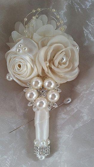 BOUTONNIERE Ivory Satin Grooms Boutonniere by Elegantweddingdecor