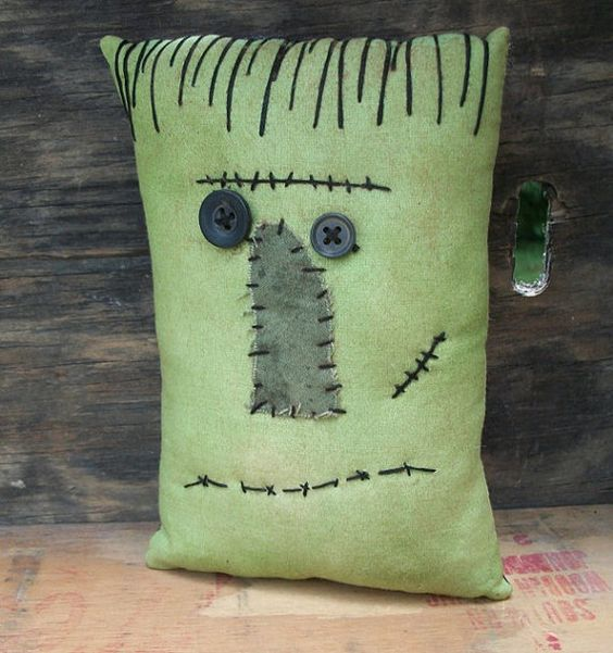 Small Primitive Halloween Frankenstein Pillow by thewoodedlake