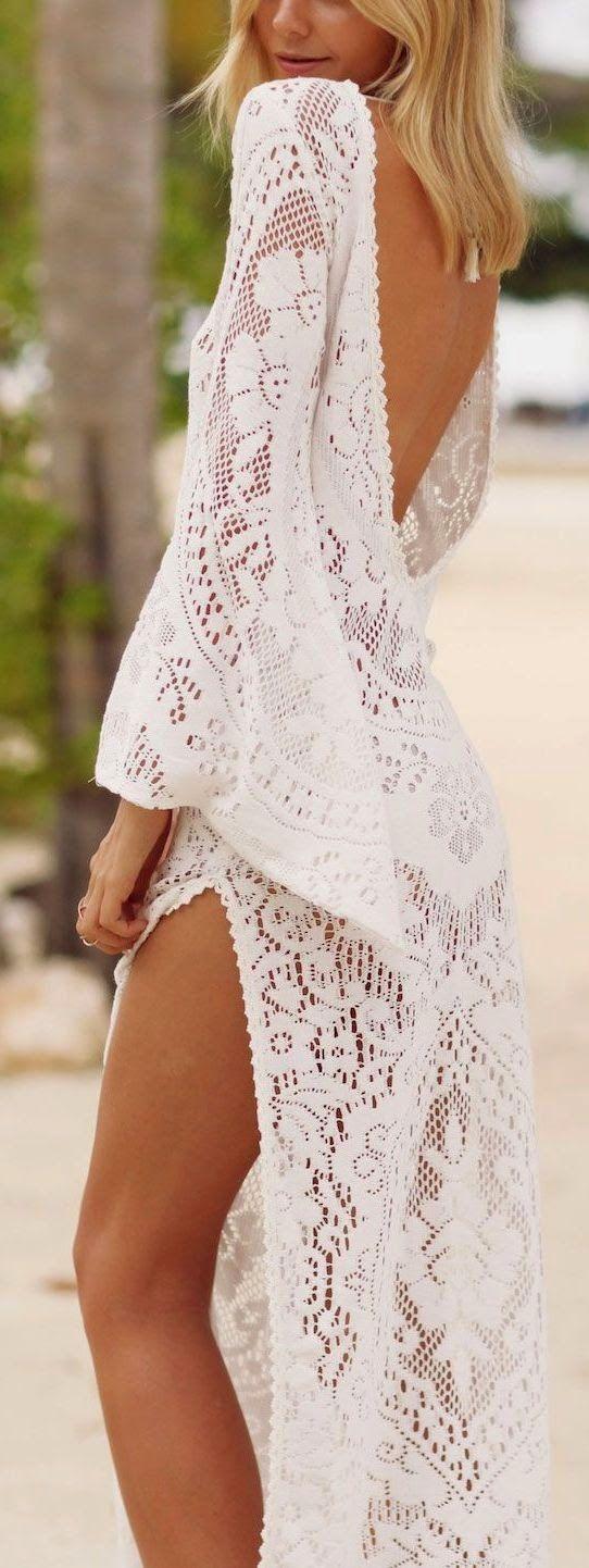 Boho Deep Back Crochet Dress: