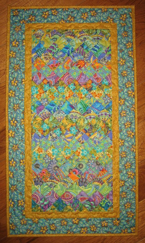 Art Deco Art Quilt Paisley Turquoise Orange Yellow by TahoeQuilts