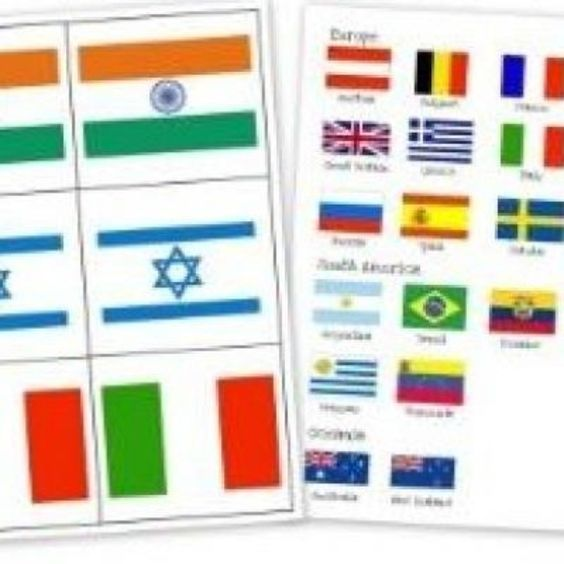 Printable Countries' Flags Flash Cards