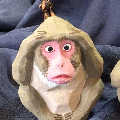 猿の土鈴 お節介三猿 置物 手作りクラフト 三猿