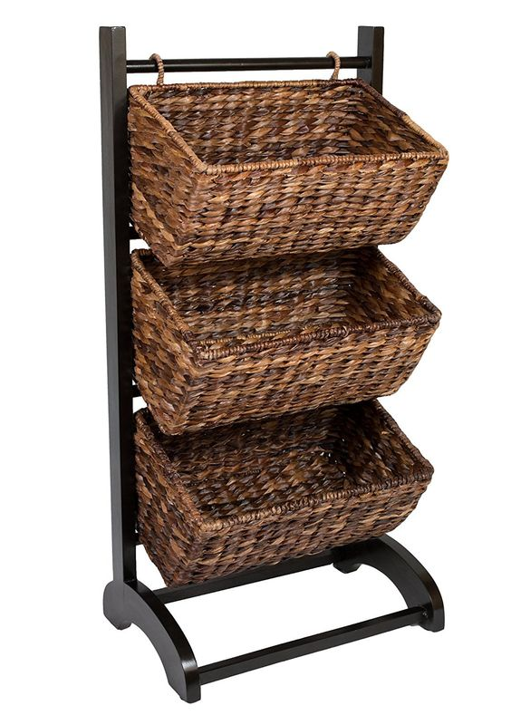 Amazon.com: BirdRock Home 3-Tier Abaca Storage Cubby (Brown) | Made of Extremely Durable Abaca Fiber | Solid Wood Frame: Kitchen & Dining