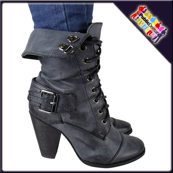 High Heel Military Boots | LADIES DIRTY BLACK HIGH HEEL MILITARY ARMY BOOTS SZ…