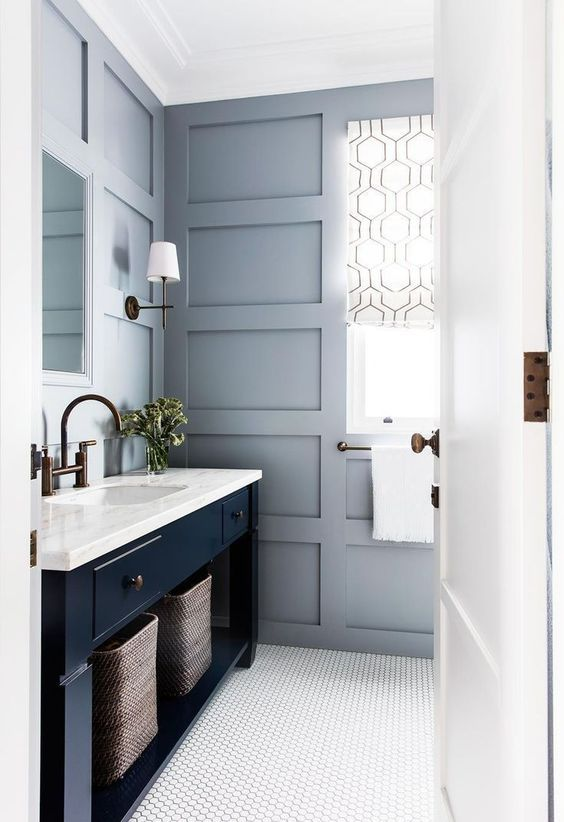 Navy Blue And Grey Bathroom Decor Bathroom Interior Bathroom Remodel Master Bathrooms Remodel