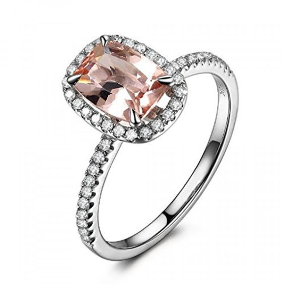 This Ring features a 6x8mm Cushion Cut morganite,with 0.27ctw diamonds.Lord of gem rings offers the most selections of Morganite Engagement Diamond Wedding rings.Handmade fine jewelry since 1999,direct from goldsmith-shop,best quality & service,1/3 retail price.30 day money back guarantee,easy retur