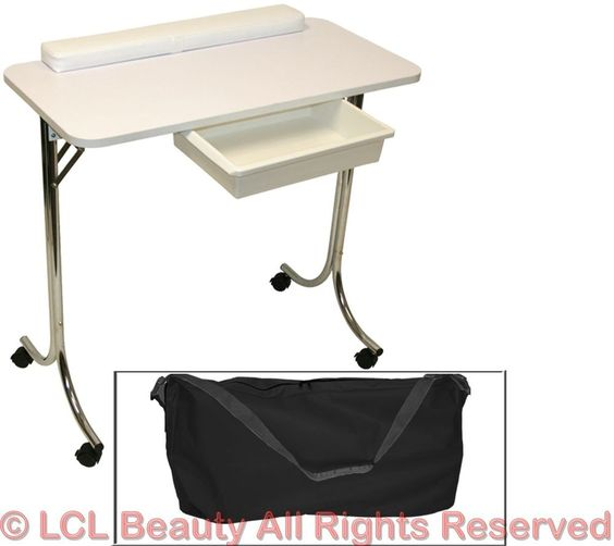 White portable manicure nail table station desk spa beauty for Beauty table for nails