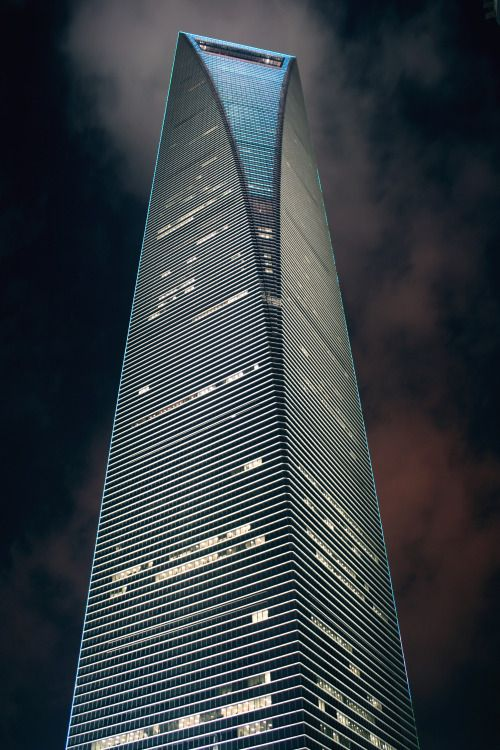 Look up at Shanghai World Financial Center at night
