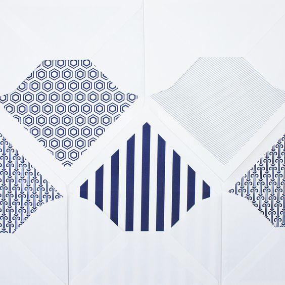 Blue + white lined envelopes.