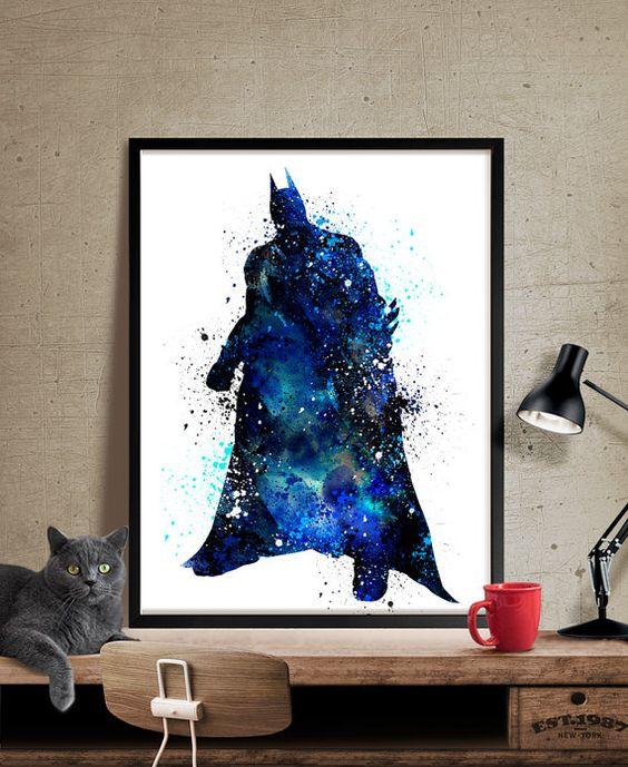 Wasserfarben Drucken Batman, Batman Kunst Aquarell Batman Grafik, Super Hero Plakat, Wand Kunst Poster (63)