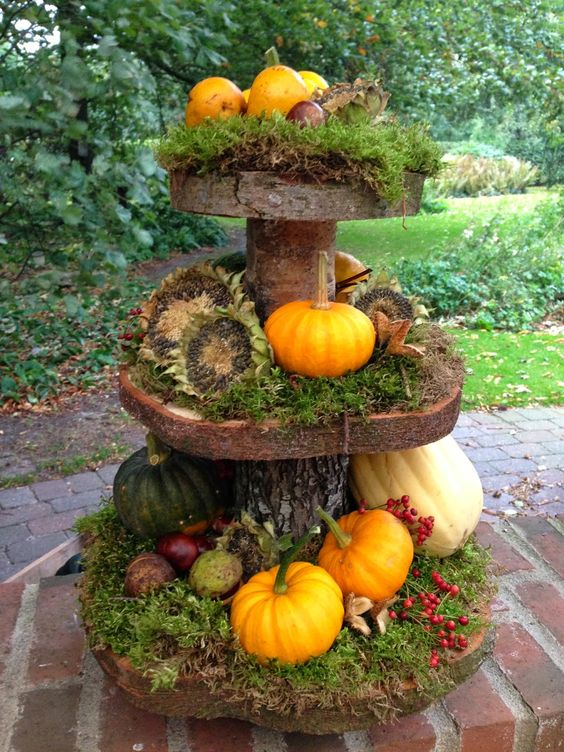 create your own tiered display out of a small tree trunk/branch and make rings out of slices on the verticle, moss, dried sunflowers, pomegranates, nuts, squash, pumpkins and berries