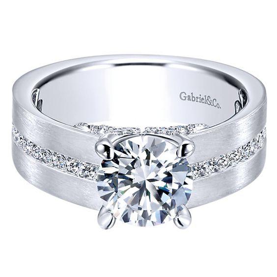 14k White Gold Diamond Straight Engagement Ring