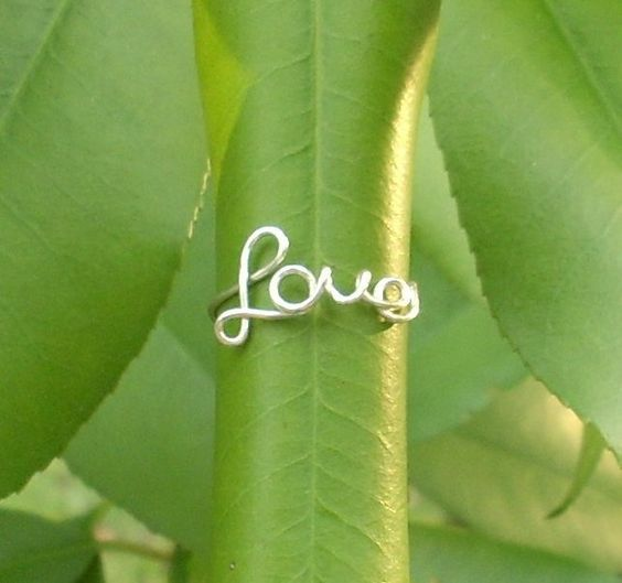 Silver wire LOVE ring by RingBinder on Etsy. $9.95, via Etsy.