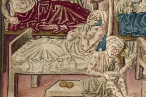 mages of plague sufferers in an illumination from a 16th Century Perugian manuscript